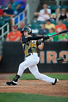 Aberdeen IronBirds Clay Fisher (19) bats during a NY-Penn League game against the Vermont Lake Monsters on August 18, 2019 at Leidos Field at Ripken Stadium in Aberdeen, Maryland.  Vermont defeated Aberdeen 6-5.  (Mike Janes/Four Seam Images)
