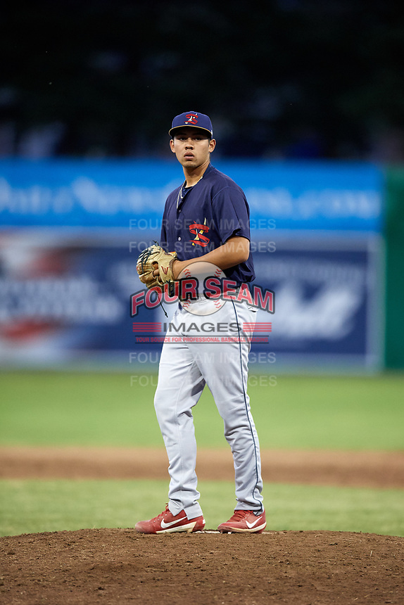State College Spikes relief pitcher Edgar Gonzalez (47) gets ready to deliver a pitch during a game against the Batavia Muckdogs on July 7, 2018 at Dwyer Stadium in Batavia, New York.  State College defeated Batavia 7-4.  (Mike Janes/Four Seam Images)