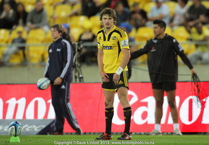 Beauden Barrett lines up a kick at goal during the Super 15 rugby match between the Hurricanes and Highlanders at Westpac Stadium, Wellington, New Zealand on Saturday, 17 March 2012. Photo: Dave Lintott / lintottphoto.co.nz