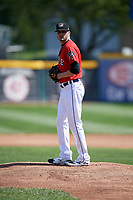Erie SeaWolves starting pitcher Myles Jaye (7) gets ready to deliver a pitch during a game against the Reading Fightin Phils on May 18, 2017 at UPMC Park in Erie, Pennsylvania.  Reading defeated Erie 8-3.  (Mike Janes/Four Seam Images)