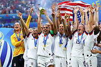 Celebration Alex Morgan (USA) et equipe (USA) avec trophee et sur le podium <br /> Lyon 07/07/2019<br /> Football Womens World Cup Final <br /> United States - Netherlands <br /> Photo  Gwendoline LeGoff / Panoramic/Insidefoto <br /> ITALY ONLY