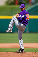 Kyle Lloyd (35) of the Evansville Purple Aces winds up during a game against the Missouri State Bears at Hammons Field on May 12, 2012 in Springfield, Missouri. (David Welker/Four Seam Images).
