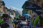 Riders line up before the start of Stage 5 of the 2014 Tirreno-Adriatico, running from Amatrice to Guardiaghrele (192 km), with a stage finish at extreme gradients that will favour the climbing specialists. 16th March 2014.      <br /> Photo: Gian Mattia D'Alberto/LaPresse/www.newsfile.ie