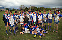 The Horowhenua Kapiti team pose for a group photo after the under-13 rugby match between Horowhenua-Kapiti and Central Hawkes Bay at Otaki Domain in Otaki, New Zealand on Sunday, 6 August 2017. Photo: Dave Lintott / lintottphoto.co.nz