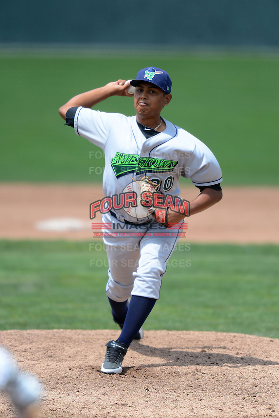 Jamestown Jammers pitcher Roberto Espinosa (30) during a game against the Batavia Muckdogs on July 24, 2013 at Dwyer Stadium in Batavia, New York.  Jamestown defeated Batavia 9-7.  (Mike Janes/Four Seam Images)