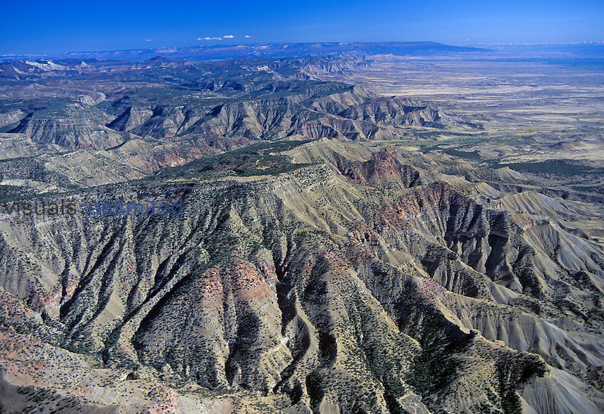 Aerial view of Book Cliffs north of Mack, Colorado, USA.