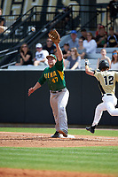 Siena Saints first baseman Joe Drpich (47) stretches for a throw as Luke Hamblin (12) runs through the bag during a game against the UCF Knights on February 21, 2016 at Jay Bergman Field in Orlando, Florida.  UCF defeated Siena 11-2.  (Mike Janes/Four Seam Images)
