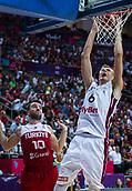 7th September 2017, Fenerbahce Arena, Istanbul, Turkey; FIBA Eurobasket Group D; Latvia versus Turkey; Power Forward Kristaps Porzingis #6 of Latvia dunks on the basket