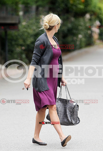 Pregnant Reese Witherspoon seen out and about Brentwood. The actress wore a purple Michael Lauren dress with gray cardigan and matching Stella McCartney chain strap purse. Los Angeles, California on 01.05.2012.Credit: Vida/face to face /MediaPunch Inc. ***FOR USA ONLY*** **SOLO*VENTA*EN*MEXICO**