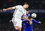 Chelsea's Cesc Fabregas and Gary Cahill tussle with PGS's Zlatan Ibrahimovic<br /> <br /> - UEFA Champions League - Chelsea vs Paris Saint Germain - Stamford Bridge - London - England - 9th March 2016 - Pic David Klein/Sportimage