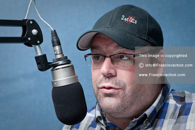 CHOI Radio X radio host Stephane Dupont gestures as he talk during his show at the Quebec city studio Wednesday April 27, 2011. Dupont mid-day show is one of the most popular in Quebec city.