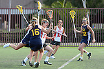 Santa Barbara, CA 02/19/11 - Christina Ricciardulli (San Diego State #34) and unknown Berkeley player in action during the San Diego State - Cal Berkeley game at the 2011 Santa Barbara Shootout.