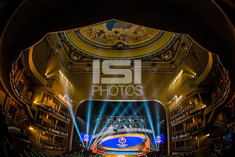 New York City, NY. - February 21, 2016:  The 2016 Copa America Centenary Draw held at the Hammerstein Ballroom in Manhattan, New York, USA.