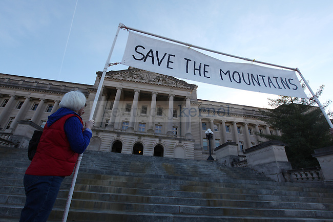 The rally team climbed the steps to the capitol building in Frankfort during a support rally for the sit in protest.  Photo by Britney McIntosh | Staff