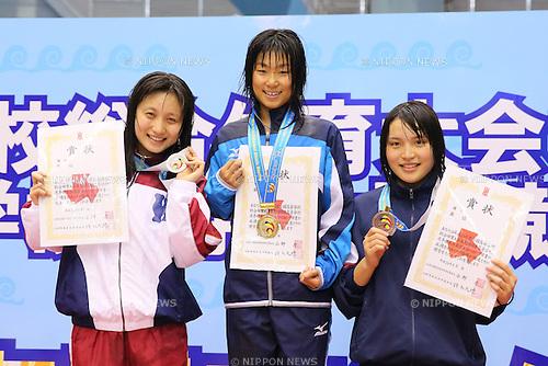 (L-R) Megumi Ito (Wasedajitsugyo), Ayu Ishihara (Yanagawa), Mizuna Ishimori (Saitamasakae), <br /> August 18, 2014 - Swimming : <br /> 2014 All-Japan Inter High School Championships,<br /> Women's 200m Freestyle Victory Ceremony <br /> at Chiba International General Swimming Center, Chiba, Japan. <br /> (Photo by Yohei Osada/AFLO SPORT)