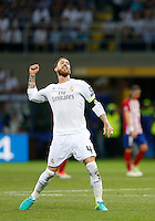 Calcio, finale di Champions League: Real Madrid vs Atletico Madrid. Stadio San Siro, Milano, 28 maggio 2016.<br /> Real Madrid&rsquo;s Sergio Ramos celebrates after scoring during the the Champions League final match between Real Madrid and Atletico Madrid, at Milan's San Siro stadium, 28 May 2016.<br /> UPDATE IMAGES PRESS/Isabella Bonotto