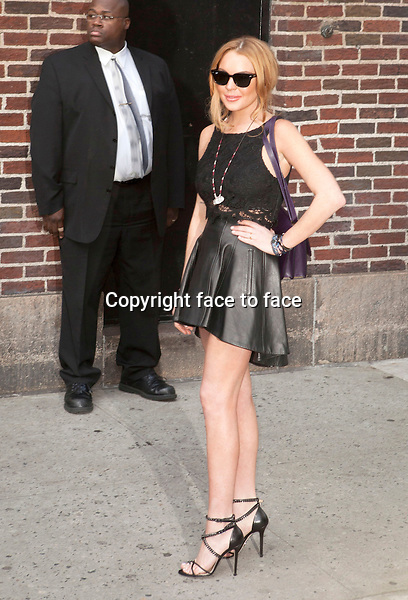 NEW YORK, NY - APRIL 9: Lindsay Lohan at Late Show with David Letterman on April 9, 2013 in New York City...Credit: MediaPunch/face to face..- Germany, Austria, Switzerland, Eastern Europe, Australia, UK, USA, Taiwan, Singapore, China, Malaysia and Thailand rights only -