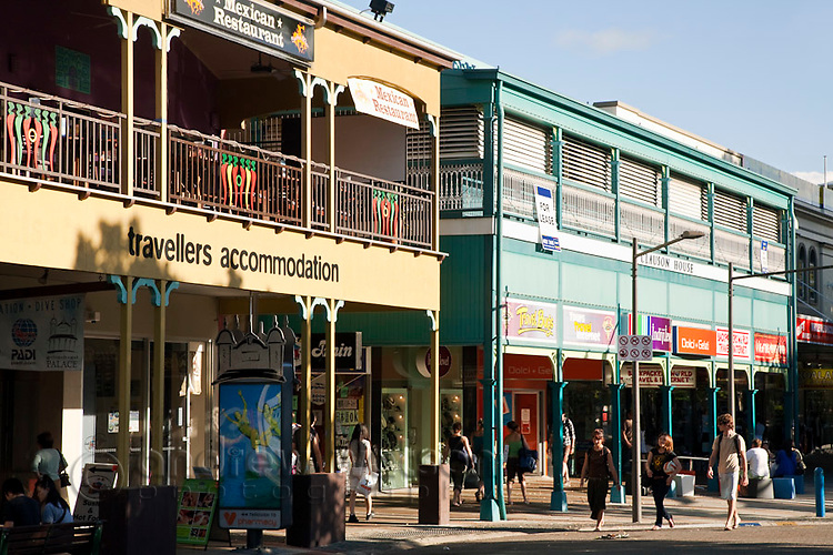 Backpacker hostel and shops on Shields Street.  Cairns, Queensland, Australia