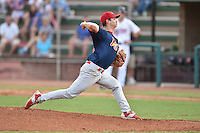 Johnson City Cardinals starting pitcher Josh Wirsu (28) delivers a pitch during a game against the Elizabethton Twins on July 30, 2015 in Elizabethton, Tennessee. The Twins defeated the Cardinals 13-4. (Tony Farlow/Four Seam Images)