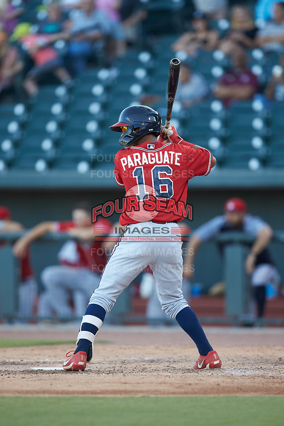 Carlos Paraguate (16) of the Rome Braves at bat against the Columbia Fireflies at Segra Park on May 13, 2019 in Columbia, South Carolina. The Fireflies walked-off the Braves 2-1 in game one of a doubleheader. (Brian Westerholt/Four Seam Images)