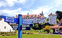 Pictured: View of the monastery on Caldey Island off the Pembrokeshire coast, Wales, UK.<br /> Re: A small island off the Welsh coast known for its order of perfume-making monks and sense of tranquility has recorded its first crime in recent history.<br /> Police were called to Caldey Island which has apopulation of 40, off Tenby in Pembrokeshire, west Wales after an incident at the chocolate factory.<br /> The officers were taken on an RNLI lifeboat to the island, 2 miles off the resort of Tenby, to make an arrest.<br /> The crime was revealed when a visitor from Dudley, West Midlands, appeared in Haverfordwest magistrates court and admitted assault. The man was visiting the island when he struck his  7 year old son during a visit to the chocolate factory, where handmade treats are produced by monks.