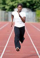 Haringey athlete Torema Thompson in training..New River Stadium, July 12, 2010.