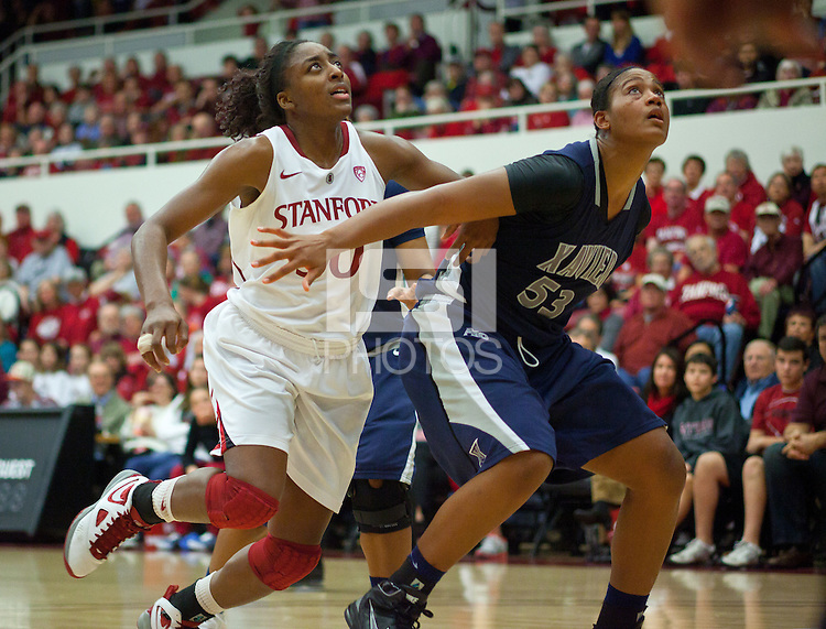 STANFORD, CA - December 28, 2010: Nnemkadi Ogwumike of the Stanford Cardinal women's basketball team during Stanford's game against the Xavier Musketeers at Maples Pavilion. Stanford won 89-52.