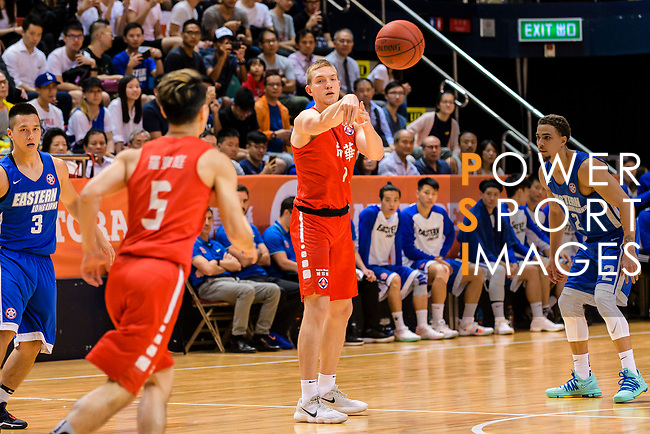 Dominic Robert Gilbert #11 of SCAA Men's Basketball Team passes the ball during the Hong Kong Basketball League playoff game between Eastern Long Lions and SCAA at Queen Elizabeth Stadium on July 24, 2018 in Hong Kong. Photo by Marcio Rodrigo Machado / Power Sport Images