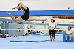 BG Media Day Lilleshall 15.10.15 .Open training session ahead of the World Championships in Glasgow. Kelly Simm performs a leap on floor. Watched by National Coach Amanda Reading.