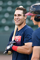 First baseman Brendan Venter (32) of the Rome Braves takes batting practice before a game against the Greenville Drive on Wednesday, July 11, 2018, at Fluor Field at the West End in Greenville, South Carolina. He is the Atlanta Braves' 2018 13th-round draft pick. (Tom Priddy/Four Seam Images)