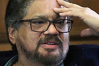 BOGOTÁ- COLOMBIA, 9-02-2018:Iván Márquez, integrante del  partido político de las FARC ,Fuerza Alternativa Revolucionaria del Común ,habla durante conferencia de prensa en el Club de Ejecutivos ,de la suspensión de la campaña electoral luego de que sus candidatos recibieran agresiones del público./ Ivan Marquez, member of the political party of the FARC, Fuerza Alternativa Revolucionaria del Común, speaks during a press conference at the Club de Ejecutivos, of the suspension of the electoral campaign after his candidates received assaults from the public. Photo: VizzorImage/ Felipe Caicedo / Staff