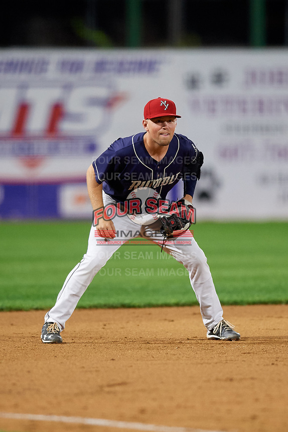 Binghamton Rumble Ponies third baseman Andrew Ely (6) during a game against the Portland Sea Dogs on August 31, 2018 at NYSEG Stadium in Binghamton, New York.  Portland defeated Binghamton 4-1.  (Mike Janes/Four Seam Images)
