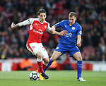 Arsenal's Hector Bellerin tussles with Leicester's Marc Albrighton during the Premier League match at the Emirates Stadium, London. Picture date: April 26th, 2017. Pic credit should read: David Klein/Sportimage