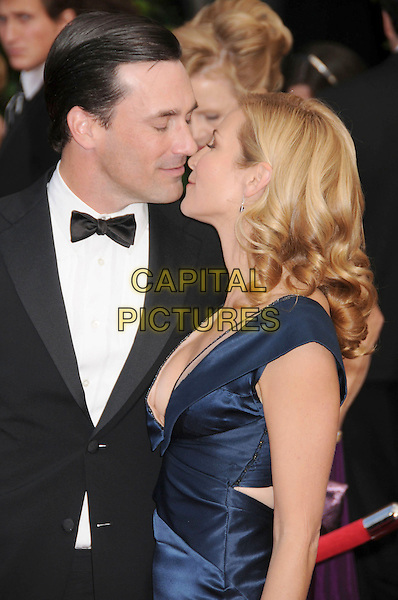 JOHN HAMM & JENNIFER WESTFELDT.14th Annual Screen Actors Guild Awards held at the Shrine Auditorium, Los Angeles, California, USA,.USA, 27 January 2008..half length kissing.CAP/ADM/BP.©Byron Purvis/AdMedia/Capital Pictures.