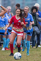 AMELIA BATH (IBIZA WEEKENDER) & George Harrison (TOWIE) battle for the ball during the SOCCER SIX Celebrity Football Event at the Queen Elizabeth Olympic Park, London, England on 26 March 2016. Photo by Andy Rowland.