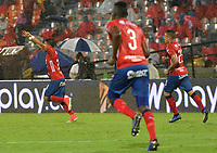 MEDELLIN - COLOMBIA, 20-04-2019: Sebastian Macias del Medellín celebra después de anotar el segundo gol de su equipo al Jaguares durante partido por la fecha 17 de la Liga Águila I 2019 entre Deportivo Independiente Medellín y Jaguares de Córdoba F:C: jugado en el estadio Atanasio Girardot de la ciudad de Medellín. / Sebastian Macias of Medellin celebrates after scoring the second goal of his team to Jaguares during match for the date 17 of the Aguila League I 2019 between Deportivo Independiente Medellin and Jaguares de Cordoba F:C: played at Atanasio Girardot stadium in Medellin city. Photo: VizzorImage / Leon Monsalve / Cont