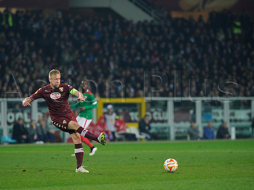 19.02.2015.  Turin, Italy. Europa League. Europa League Torino FC versus Athletic Bilbao. Torino FC's captain Kamil Glik on the ball.
