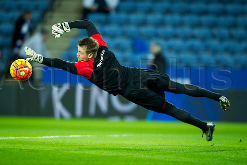 02.02.2016.  Leicester, England. Barclays Premier League. Leicester City versus Liverpool. Simon Mignolet of Liverpool pictured during the pre-match warm-up.