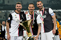 Andrea Barzagli of Juventus , Leonardo Bonucci of Juventus and Giorgio Chiellini of Juventus celebrate with the trophy the victory of italian championship <br /> Torino 19-05-2019 Allianz Stadium Football Serie A 2018/2019 Juventus - Atalanta  <br /> photo One Nine / Insidefoto