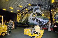 - CH 46 transport helicopter of US Marines in the hangar  of Wasp amphibious assault ship during operations in Bosnia-Herzegovina....- elicottero da trasporto CH 46 degli US Marines nell'hangar della nave da assalto anfibio Wasp durante operazioni in Bosnia-Herzegovina