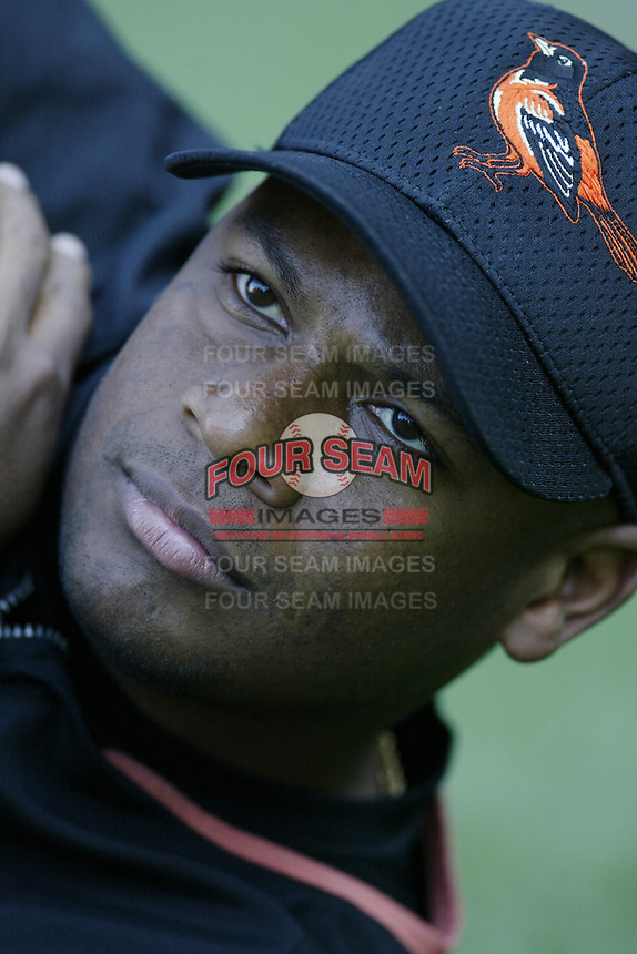 Yorkis Perez of the Baltimore Orioles before a 2002 MLB season game against the Los Angeles Angels at Angel Stadium, in Los Angeles, California. (Larry Goren/Four Seam Images)