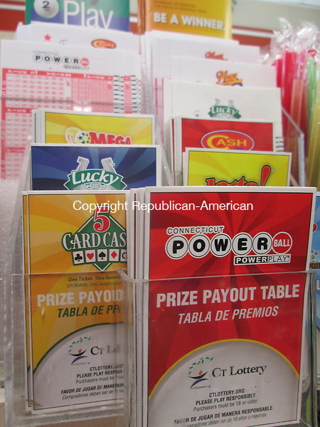 WATERBURY,CT- 10 July 2015- 071015DL01-- Forms and guidelines for the CT Lottery on display at a local 7-Eleven convenience store. Recent changes in the Powerball game make it more difficult to win the grand prize. Destiny Lopez Republican-American