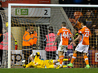 Blackpool's Ryan Allsop can't stop Portsmouth's Brett Pitman's late winner<br /> <br /> Photographer Alex Dodd/CameraSport<br /> <br /> The EFL Sky Bet League One - Blackpool v Portsmouth - Saturday 11th November 2017 - Bloomfield Road - Blackpool<br /> <br /> World Copyright &copy; 2017 CameraSport. All rights reserved. 43 Linden Ave. Countesthorpe. Leicester. England. LE8 5PG - Tel: +44 (0) 116 277 4147 - admin@camerasport.com - www.camerasport.com