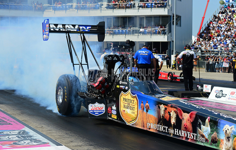 Sept. 22, 2012; Ennis, TX, USA: NHRA top fuel dragster driver Brandon Bernstein during qualifying for the Fall Nationals at the Texas Motorplex. Mandatory Credit: Mark J. Rebilas-