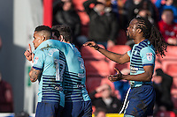 Celebrates as Paris Cowan-Hall (left) of Wycombe Wanderers scores the winner during the Sky Bet League 2 match between Grimsby Town and Wycombe Wanderers at Blundell Park, Cleethorpes, England on 4 March 2017. Photo by Andy Rowland / PRiME Media Images.