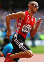 Jeremy Wariner winning the 400m in a time of 44.49sec. at the Samsung Diamond League. Paris,France Friday, July  16, 2010. photo by Errol Anderson.