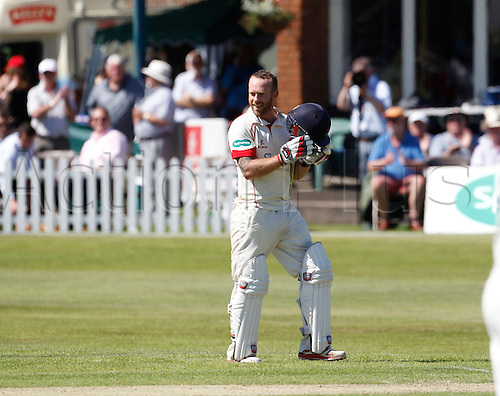 18.07.2016. Southport and Birkdale Cricket Club, Southport, England. Specsavers County Championship Cricket. Lancashire versus Durham. Lancashire all-rounder Luke Proctor acknowledges the applause of the Trafalgar Road crowd after completing his second first class century during the second session's play with Lancashire slowly building a lead.