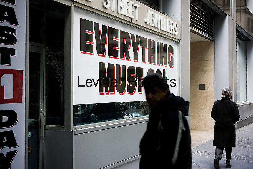 A jewelry store in Lower Manhattan in New York announces that it is closing and liquidating its inventory, seen on Tuesday, April 2, 2013. (© Richard B. Levine)
