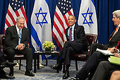 "(L to R) Prime Minister of Israel Benjamin Netanyahu and United States President Barack Obama meet during a bilateral meeting at the Lotte New York Palace Hotel, September 21, 2016 in New York City. Last week, Israel and the United States agreed to a $38 billion, 10-year aid package for Israel. Obama is expected to discuss the need for a ""two-state solution"" for the Israeli-Palestinian conflict. <br /> Credit: Drew Angerer / Pool via CNP"