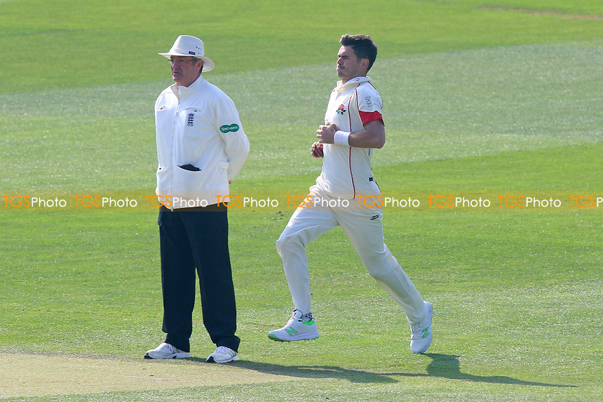 Jimmy Anderson in bowling action for Lancashire during Essex CCC vs Lancashire CCC, Specsavers County Championship Division 1 Cricket at The Cloudfm County Ground on 8th April 2017